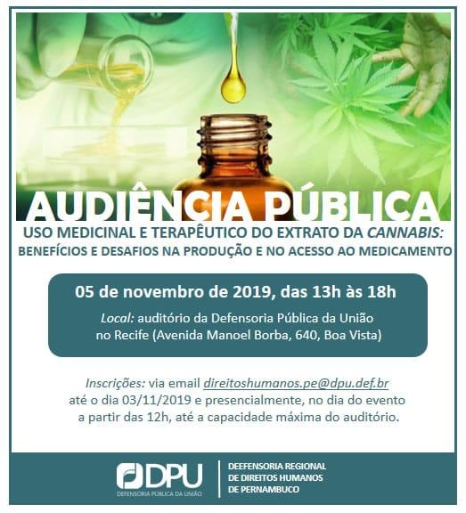 Defensoria Pública da União convoca audiência pública sobre uso medicinal da maconha